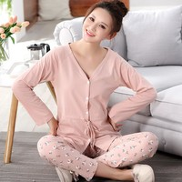 Autumn Spring Women Pajamas Set  Cotton Long Sleeves Ladies Lounge Sleepwear Nightwear for Women A9032