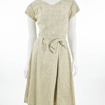 60's Champagne Damask Cocktail Dress