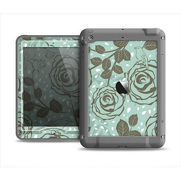 The Toned Green Vector Roses and Birds Apple iPad Mini LifeProof Nuud Case Skin Set