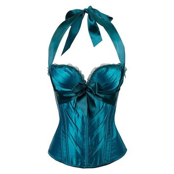 Plus Size 5 Colors Halter Tight Bow Front Corset Sexy Steampunk Bustiers And Bustiers Gothic Waist Trainer Women Corselet S-2XL