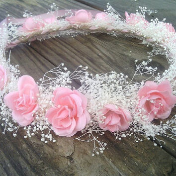 blush pink rose crown, pink rose Headband, rose Halo, bridal headpiece, pink flower, flower girl, bridesmaid, rustic, bridal, baby's breath