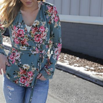 Floral Wrap Top, Dusty Green
