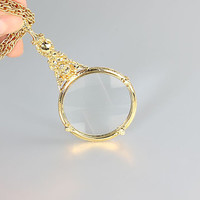 Cherub Magnifying Glass Necklace, Monocle Art Nouveau jewelry , vintage gold tone