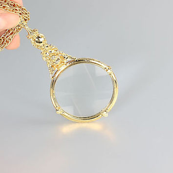 Cherub Magnifying Glass Necklace, Monocle Art Nouveau jewelry ,