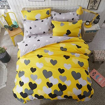 Girls Bedding Duvet Cover Sets Queen Hypoallergenic Cotton Love Printed 3 Pieces Kids Adults Duvet Quilt Cover Full Yellow Grey Reversible Lightweight Bedding Collections