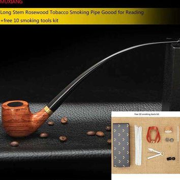 CREYLD1 MUXIANG Churchwarden Long Stem Rosewood Smoking Pipe for Weed 3mm Metal Filter Wooden Tobacco Pipe Acrylic Mouthpiece ad0008