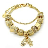 Gold Layered 03.179.0011.08 Charm Bracelet, Little Boy and Little Girl Design, with White Crystal, Polished Finish, Golden Tone