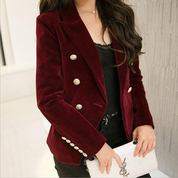 M-2XL plus size 2016 autumn female Korean Slim was thin velvet leisure suit solid color double-breasted jacket w1085