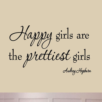 Happy Girls are the Prettiest Girls Audrey Hepburn Wall Art Decal Quotes Sayi...