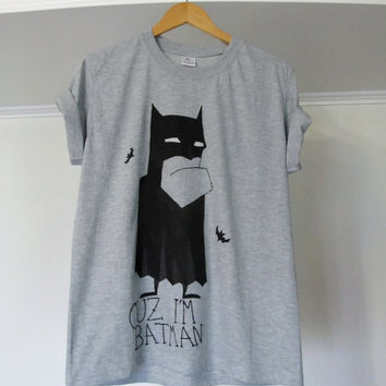 Batman Tshirt, superhero tees, funny shirt, gray Mens t shirt, hand painted, acrylic paints, cotton casual wear, Men's clothing, for him