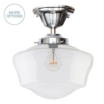 "12"" Schoolhouse Clear Glass Light- Flushmount"
