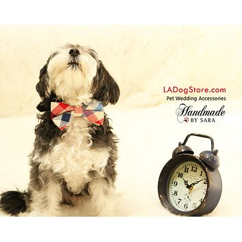 Plaid Dog Bow tie collar, Ivory, Red, Navy Bow tie