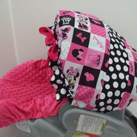Adorable cotton and hot pink minky dots Minnie Mouse print infant car seat slip cover set with coordinated canopy.