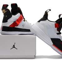 Air Jordan XXXIII Basketball Shoes - White/Black/Red