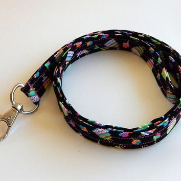 Birthday Lanyard / Birthday Cake / Cupcake Keychain / Happy Birthday / Key Lanyard / ID Badge Holder / Cute Lanyards