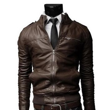 2017 PU Leather Jacket Men Long Standing Collar Motorcycle Coat Brand Mens Jackets Overcoat Men Leather Jackets Male Outwear F2