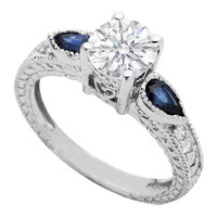 Engagement Ring - Round Diamond Vintage Style Heirloom Engagement Ring with Pear Shaped Blue Sapphires - ES350