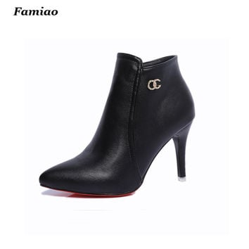 botas mujer 2016 Brand women boots elegant pu leather shoes woman fall winter pointed toe  high heels ankle martin boots