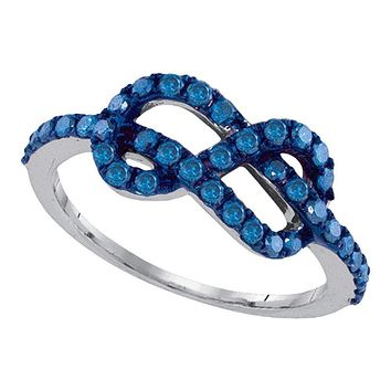 White Gold Blue Enhanced Diamond Infinity Love Anniversary Ring - FREE Shipping (US/CA)