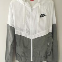 "Fashion ""NIKE"" White/Gray Hooded Zipper Cardigan Sweatshirt Jacket Coat Windbreaker Sportswear"
