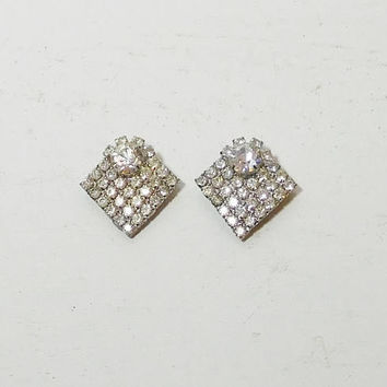 Rhinestone Shoe Clips, Signed, Bluette, Made in France, Vintage Shoe Accessory, Silver Tone