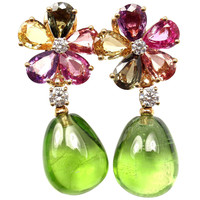 Bulgari Diamond Multi Color Sapphire Flower Peridot Yellow Gold Earrings