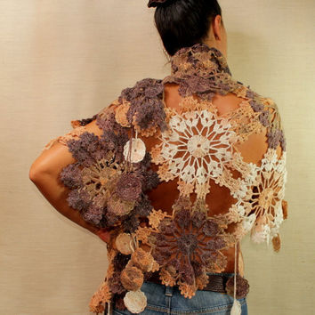 $175 Delicate Browny / Fall Fashion Crochet Ivory Brown by lilithist