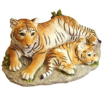Tigress and Cub Lying Together Statue - 8358