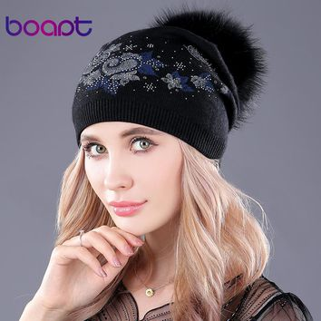 [boapt] dyeing real raccoon fur fluffy pompom hats for women's winter caps beanie thick wool knitting printing folds hat beanies
