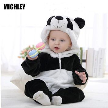 MICHLEY Infant Romper Baby Boys Girls Jumpsuit Newborn Bebe Clothing Hooded Toddler Baby Clothes Cute Panda Romper Baby Costumes