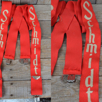 Vintage 70's Schmidt Beer Punk Rock Suspenders