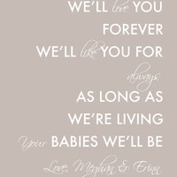 Personalized Christmas Gift for Mom Gift From Kids Gift from Children I'll Love You Forever I'll Like You for Always Thank You Mom Gift 8x10