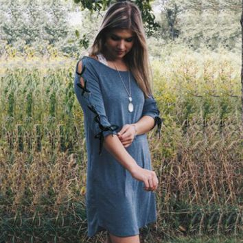 Lace Up 3/4 Sleeves Scoop Loose Short Dress