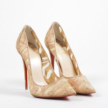 PEAP Christian Louboutin Tan Cork   So Kate 120   Pointed Toe Pumps