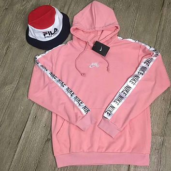 NIKE tide brand casual fashion men and women casual hooded jacket F-HYLFZC Pink