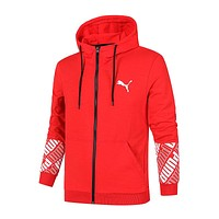 PUMA 2018 autumn men's sports casual comfortable breathable knit cardigan coat Red