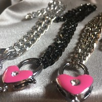 BDSM heart chain collars, three different chain options with this high quality clasping heart and non rusting chain