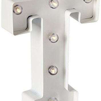 Darice Metal Letter T Marquee Light Up, White