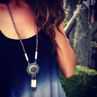Vintage Necklace Tassel Leather Beads and Seeds Turquoise American Indian Inspired