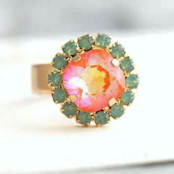 Mint Coral Ring, Cocktail Ring, Coral Mint Ring, Swarovski Crystal Ring, Crystal Ring, Gift For Her, Orange Ring,Neon Orange Ring, Gold Ring