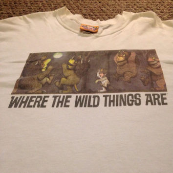 Original vintage Where the Wild Things Are Maurice Sendak Tee Shirt Sz Large / Authentic Rare Book