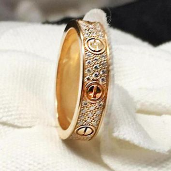 """Cartier"" Trending Ladies Men Simple Three Rows Of Drill Diamond Ring Stars Couple Ring Accessories"