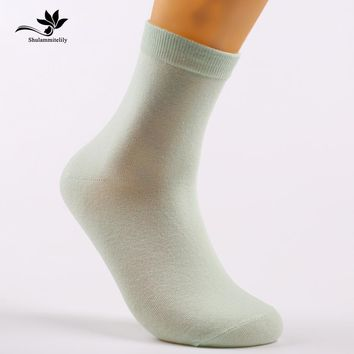 10pcs=5pairs/lot pure combed Cotton Women Fashion Socks woman's sox  candy colors women lady high quality tube sox 200 needle