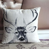 Deer Animal Included Inner Decorative Chair Seat Square 45x45 cm Home Living Room