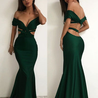 Green Prom Dresses, Off Shoulder Prom Dress,Long Evening Dress