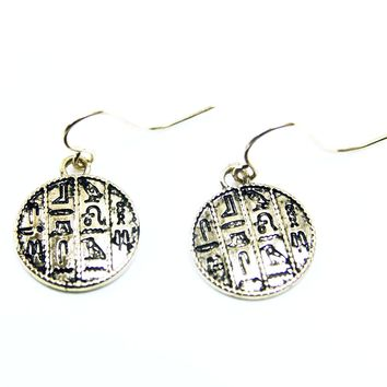 Hieroglyphic Choker Chain Earrings