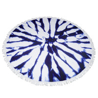 Blue and white round beach towel with fringe