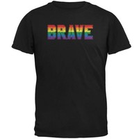 DCCKIS3 Brave Gay Pride Flag LGBTQ Mens T Shirt