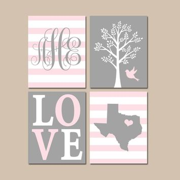 Pink Gray Nursery Wall Art, Baby Girl Nursery Decor, State Love Tree Bird, Girl Monogram Decor, Girl Tree Nursery CANVAS or Print, Set of 4