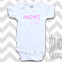 Handmade by God Christian Baby Outfit - God Infant Outfit - Baby Onesuit - Baby Girl Clothes, Baby Shower Gift - Baby & Toddler